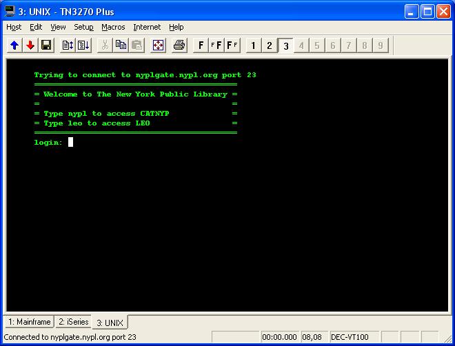 TN3270 Plus sample VT100 telnet client screen  Download an
